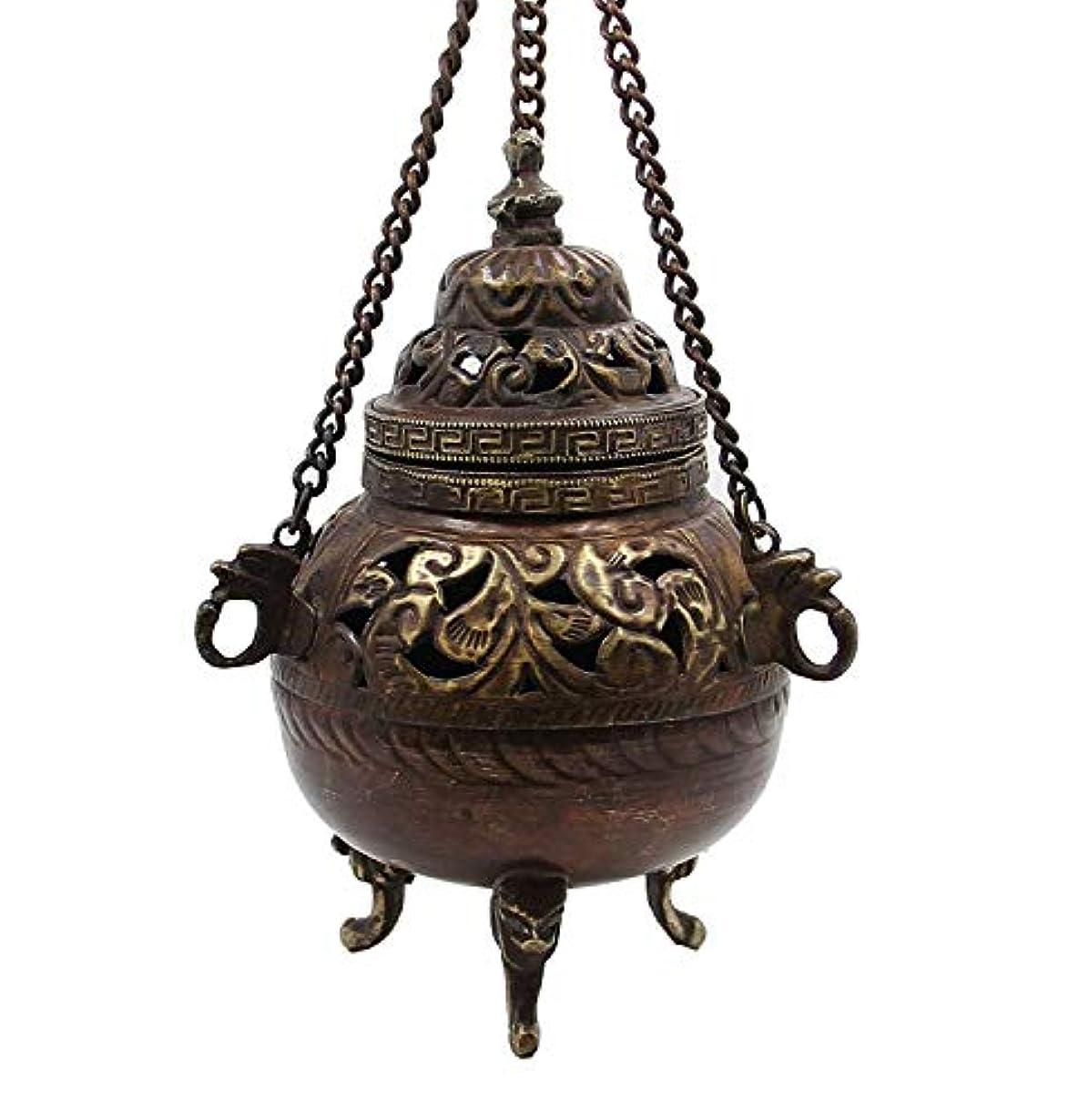 確かな錫肉屋チベット従来DharmaObjects Hanging香炉銅5 cm高