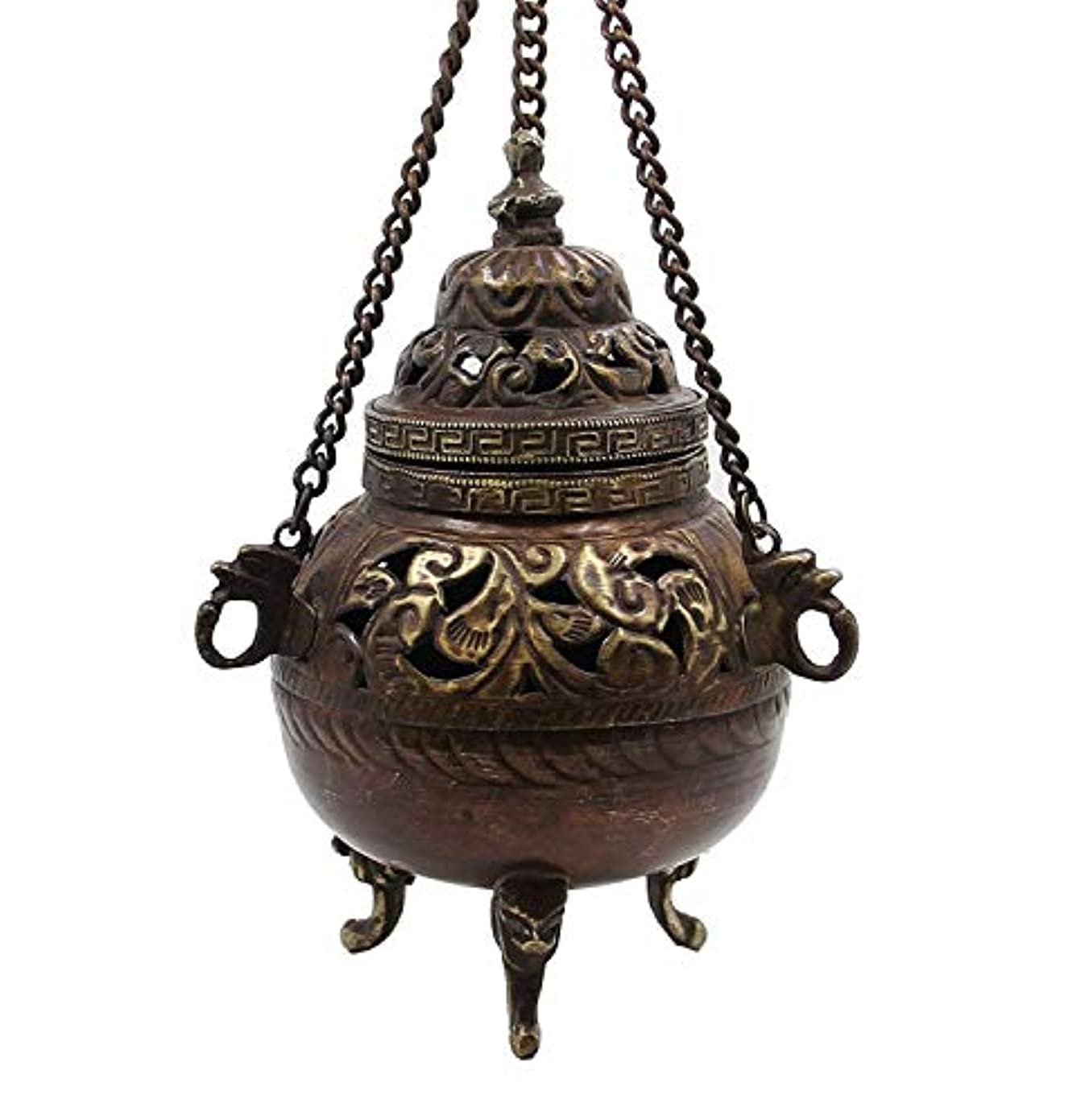 不屈しっとり記念チベット従来DharmaObjects Hanging香炉銅5 cm高