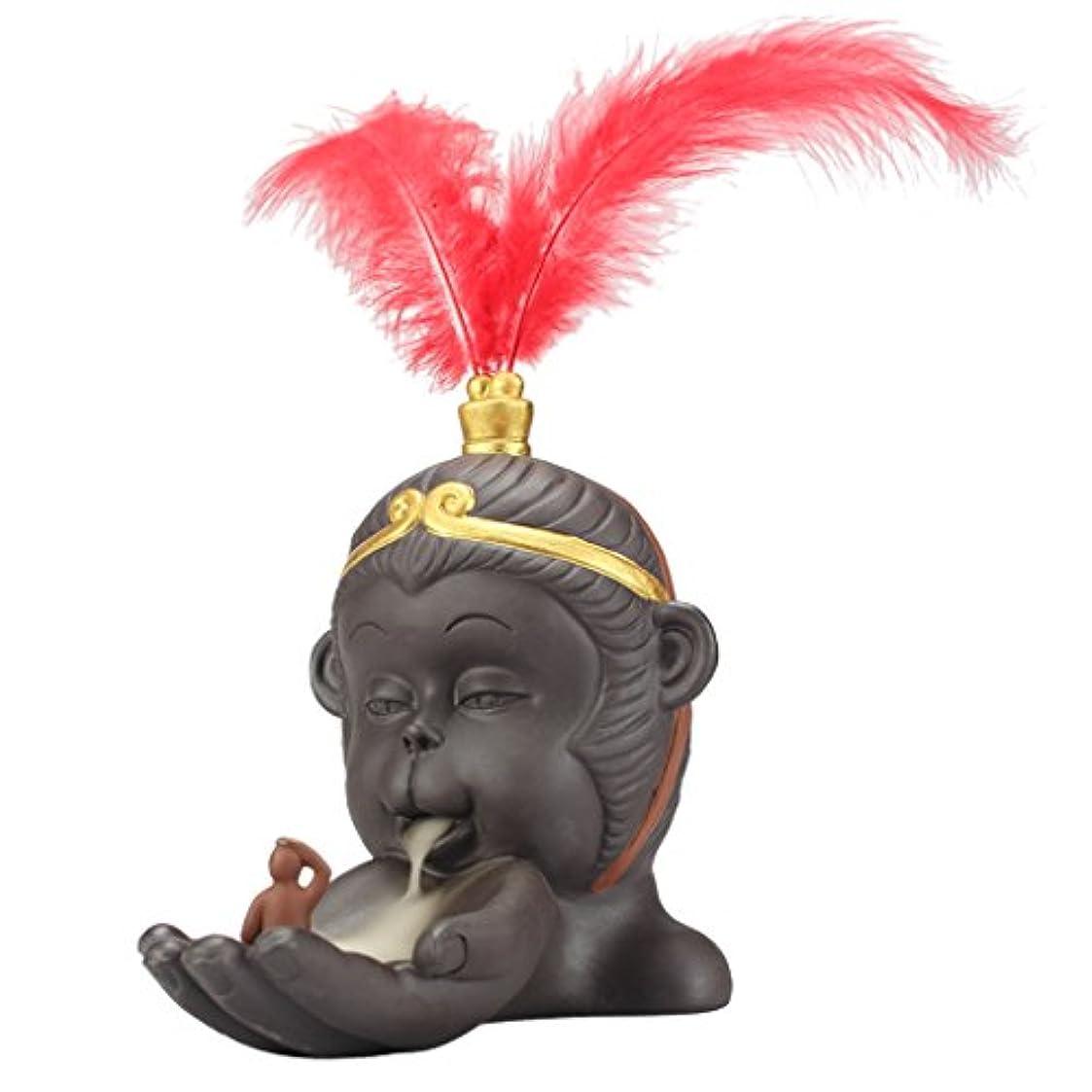 ラジエーター擬人化内向き小型 仏教 香炉 バーナーホルダー 逆流コーン 香バーナー 絶妙 技量 - 赤