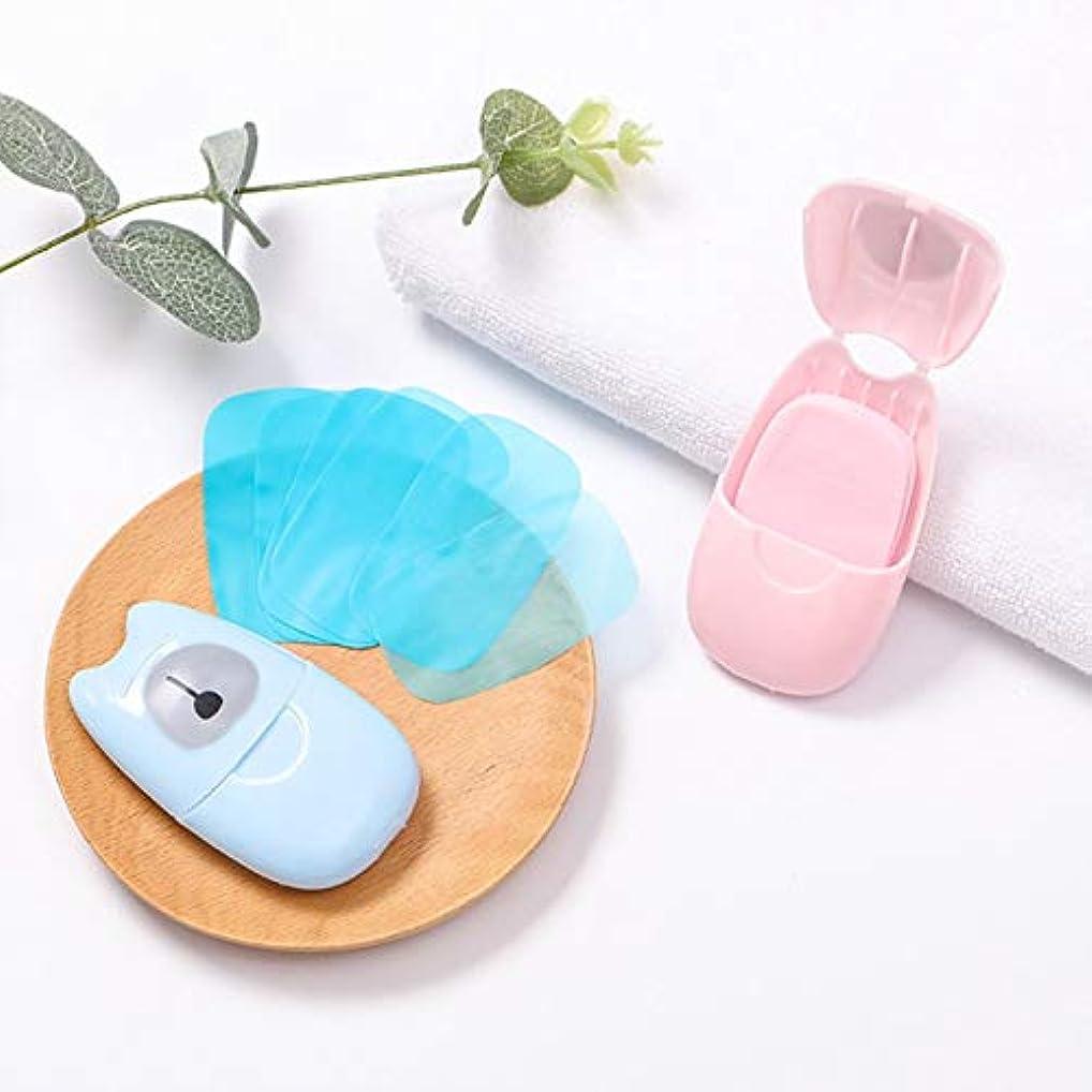 振幅上回るこれまで箱入り石鹸紙旅行ポータブル屋外手洗い石鹸の香りのスライスシート50ピースプラスチックボックス付きミニ石鹸紙(色:ピンク)