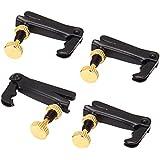 Etfbuy4本セット ブラック/ゴールド バイオリンパーツ String Adjuster Fine Tuner 3/4 4/4