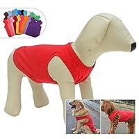 犬ノースリーブTシャツ、大型中型小型犬用のカジュアルドッグコットン服ベストTシャツ、100%着心地の良い、ペットのバック(XL、赤)