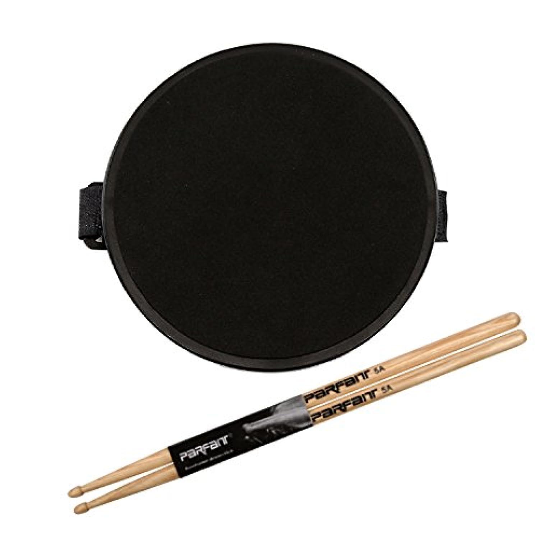 Twinkle goods (ツインクルグッズ) ドラム 練習 パッド 膝当て用 ドラムスティック 付き トレーニングパッド 6インチ ラバー 製 高弾 静音 携帯に便利 ブラック