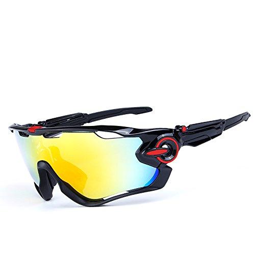 Bkayp スポーツサングラス 偏光レンズ レンズセット 5枚交換レンズ 偏光サングラス uv400 紫外線カット 超軽量 男女兼用 サイクリング ロードバイク ゴルフ 登山 自転車 釣り 野球 プロのバイク メンズ レディース (ブラック/レッド)