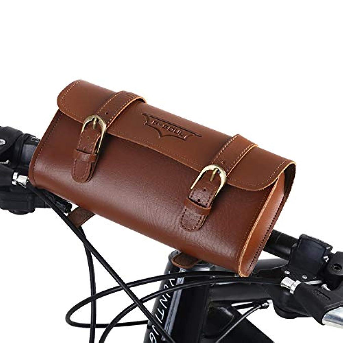 上下する時々時々保全oenbopo 自転車用バッグ レトロ スタイル 人工皮革自転車 フロントフレームバッグバイクポーチサイクリングアクセサリー