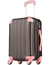 拡張ジッパースーツケース TSAロック 33リットル チョコ/ピンク