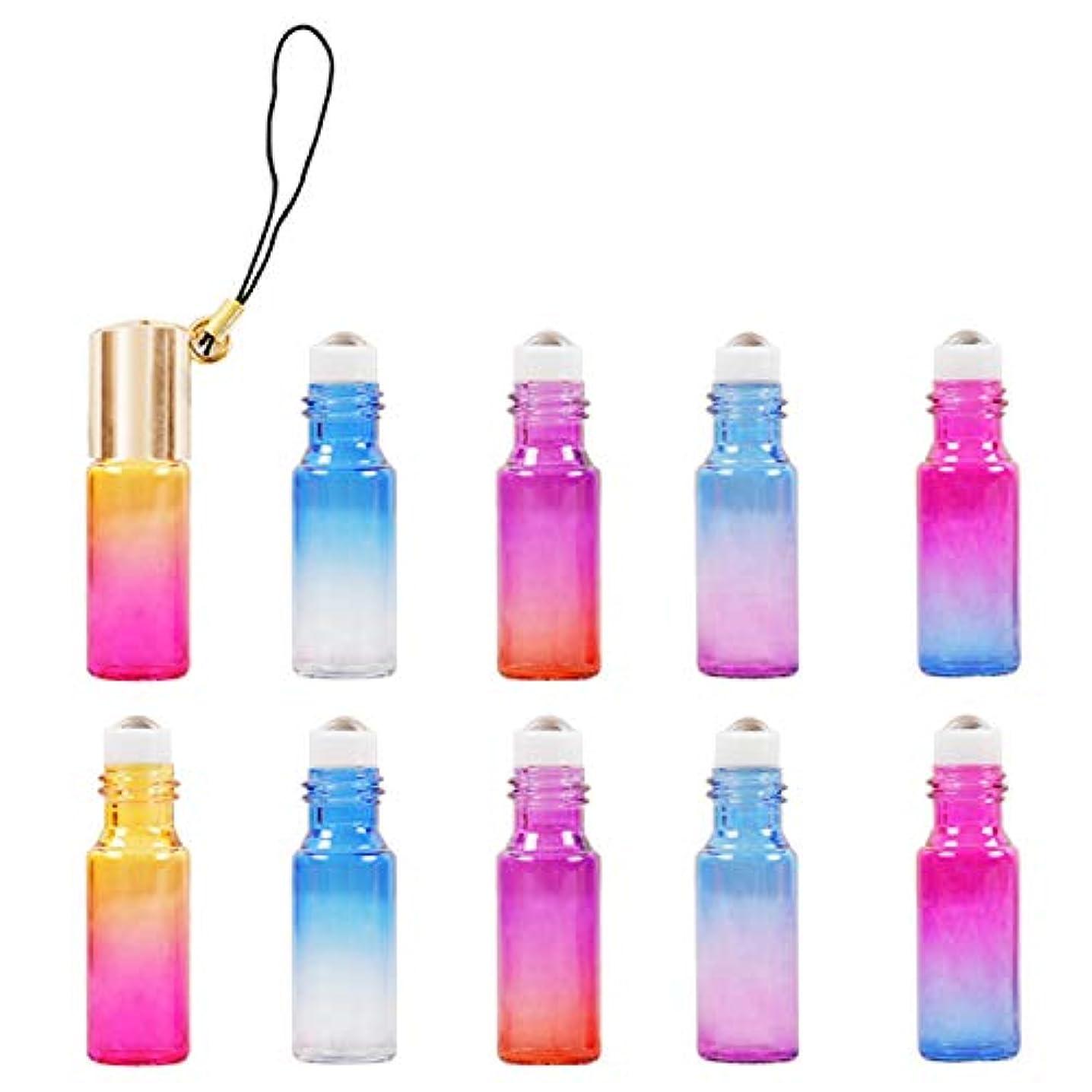 旅無限癌ALoveSoul アロマ容器 ロールオンボトル 5ml ゴールドキャップ×10本セット 遮光瓶 グラジエントカラー アロマ 香水 エッセンシャルオイル コスメ 詰め替え容器
