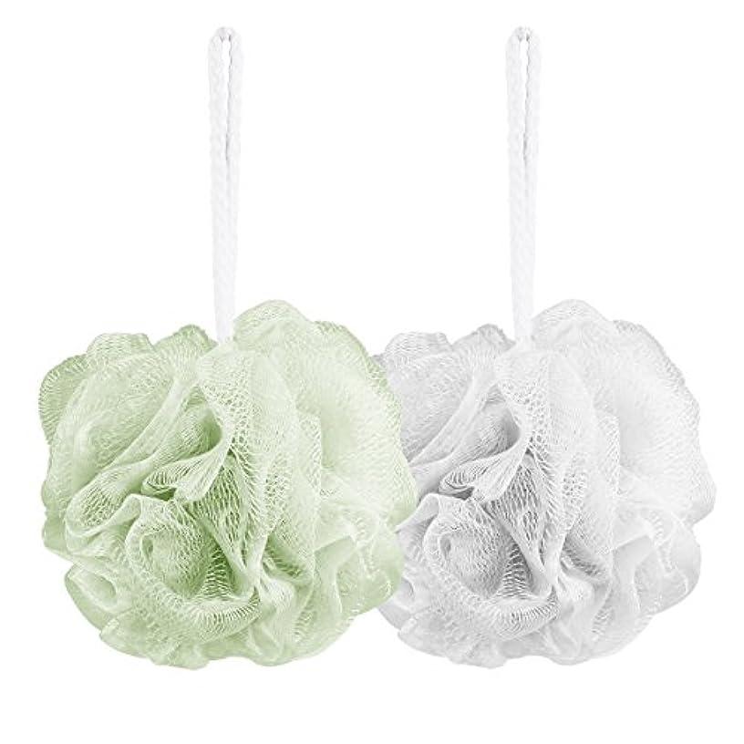 浸すシットコムアイザックAahlsen 泡立てネット 超柔軟 シャワー用 ボディ用お風呂ボール 花形 タオル 2点セット