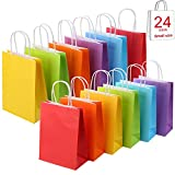 24 Pieces Kraft Paper Party Favor Bags with Handle Assorted Colors