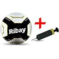 Ribayサッカーボールサイズ5 +ボーナスサッカーボールサッカーボールポンプ – Best forトレーニング& Matches。選択サッカーボール:プロ品質のメジャーリーグサッカー& Kids