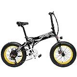 X2000 20インチファットバイク折りたたみ自転車7スピードスノーバイク48V 12.8Ah 500Wモーターアルミ合金フレーム5 PASマウンテンバイク駆動補助機付自転車 (ブラックイエロー, 10.4Ah)