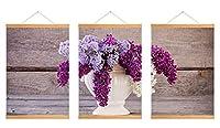芸術品ズック製印刷吊り絵、内装用品壁のデコレーション吊り絵(ライラック色の花 #P004)50x75cm/3