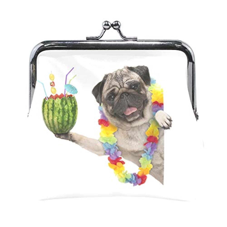 AOMOKI 財布 小銭入れ ガマ口 コインケース レディース メンズ レザー 丸形 おしゃれ プレゼント ギフト オリジナル 小物ケース スイカ 犬柄