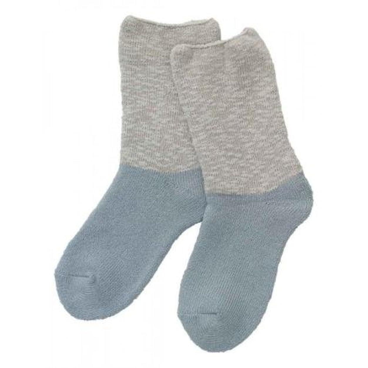 無視する襟呼吸Carelance(ケアランス)お風呂上りのやさしい靴下 綿麻パイルで足先さわやか 8706CA-70 ブルー