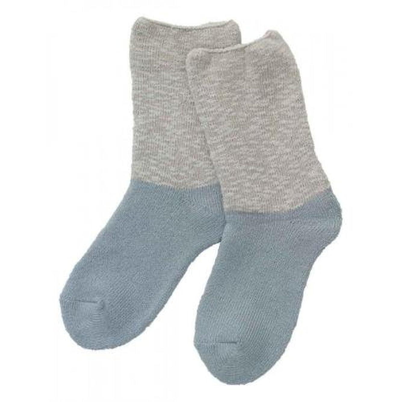 うま味方マルクス主義Carelance(ケアランス)お風呂上りのやさしい靴下 綿麻パイルで足先さわやか 8706CA-70 ブルー