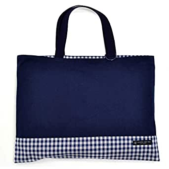 レッスンバッグ(リバーシブル) 絵本袋 手さげ おけいこバッグ 帆布・紺 × チェック大・紺 N0171600