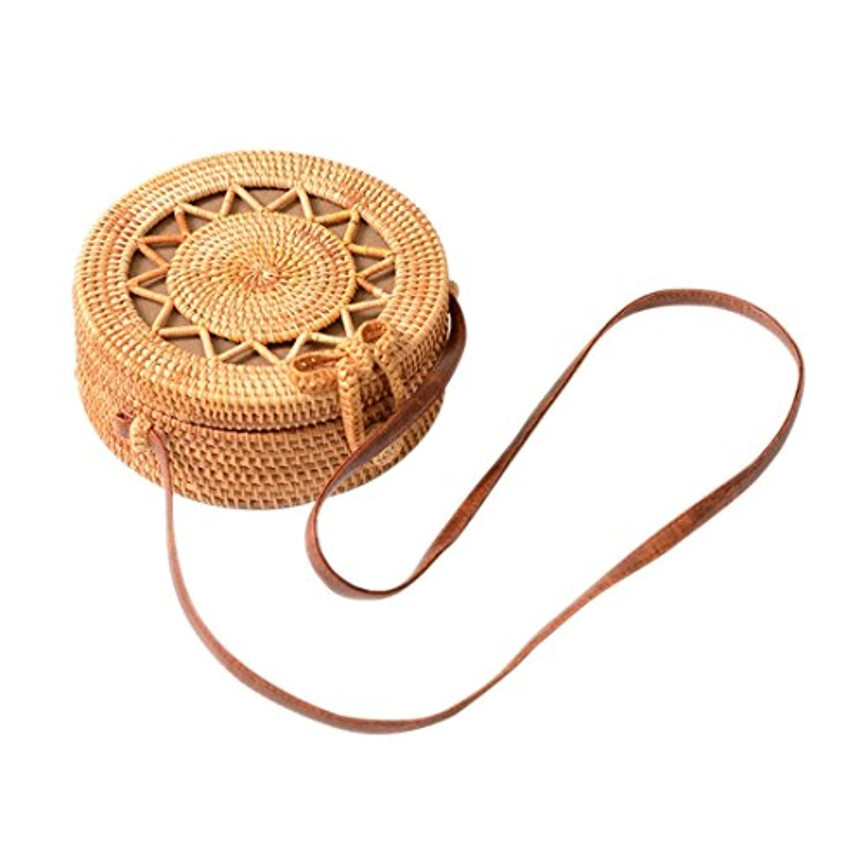 将来の沼地コークスSODIAL INS新しいレディース手織りバッグラウンドラタンレトロな文学手織りバッグボヘミアン中空五芒星のビーチラウンドショルダーバッグPUのショルダーストラップ
