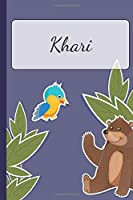 Khari: Personalized Notebooks • Sketchbook for Kids with Name Tag • Drawing for Beginners with 110 Dot Grid Pages • 6x9 / A5 size Name Notebook • Perfect as a Personal Gift • Planner and Journal for kids
