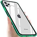iPhone 11 Pro ケース ガラス クリア スマホケース 9H硬度 透明 耐衝撃 擦り傷防止 レンズ保護 ワイヤレス充電対応 ソフト バンパーアイフォンケース ストラップホール付き グリーン
