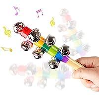 Demarktカラーレインボーハンドル木製ベルJingle Stick Shaker Rattle Musical教育玩具ギフトforキッズ赤ちゃん、2pcs