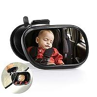 サクションカップ、バックミラー赤ちゃんの安全と360度回転可能な、エッセンシャルカーシートアクセサリー付きベビー車のミラー