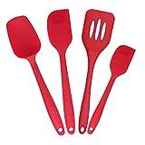 plataplus 4ピースノンスティックシリコンへらターナーセット、1ピース設計、耐熱性キッチン用品を、赤