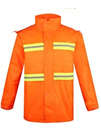 通気性のある 安全性 反射服 分割 セット レインコート アウトドア オレンジ色の赤 レインコート 四季 ユニバーサル レインコート (サイズ : XXXL)