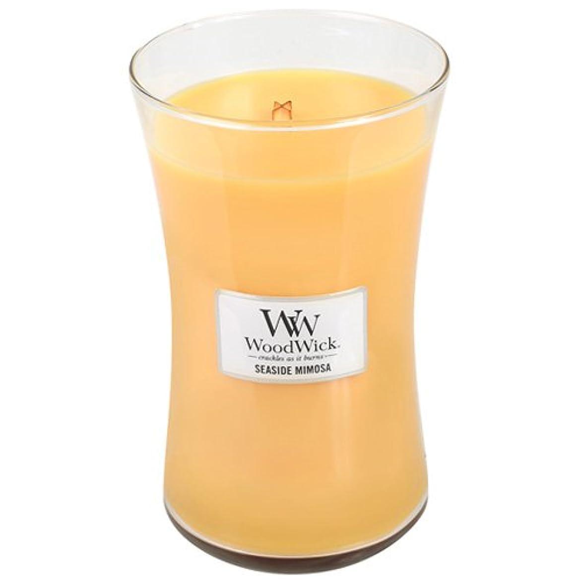住人メタンコンテンポラリーSeasideミモザWoodWick 22oz香りつきJar Candle Burns 180時間