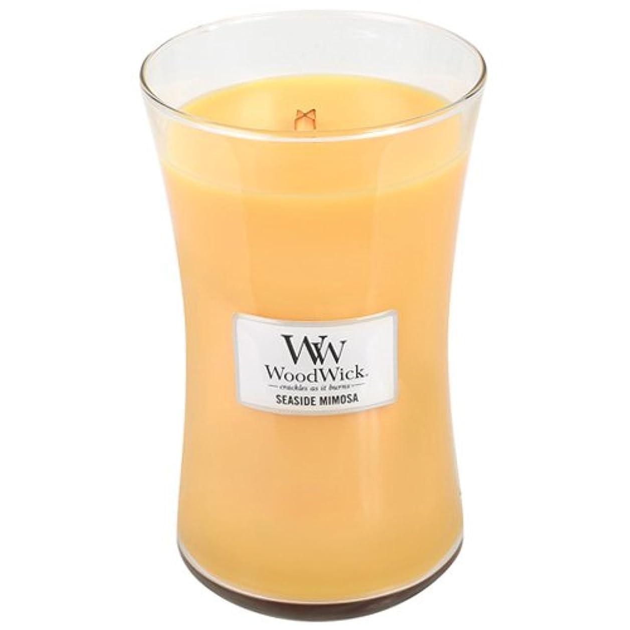マナー縁石凶暴なSeasideミモザWoodWick 22oz香りつきJar Candle Burns 180時間