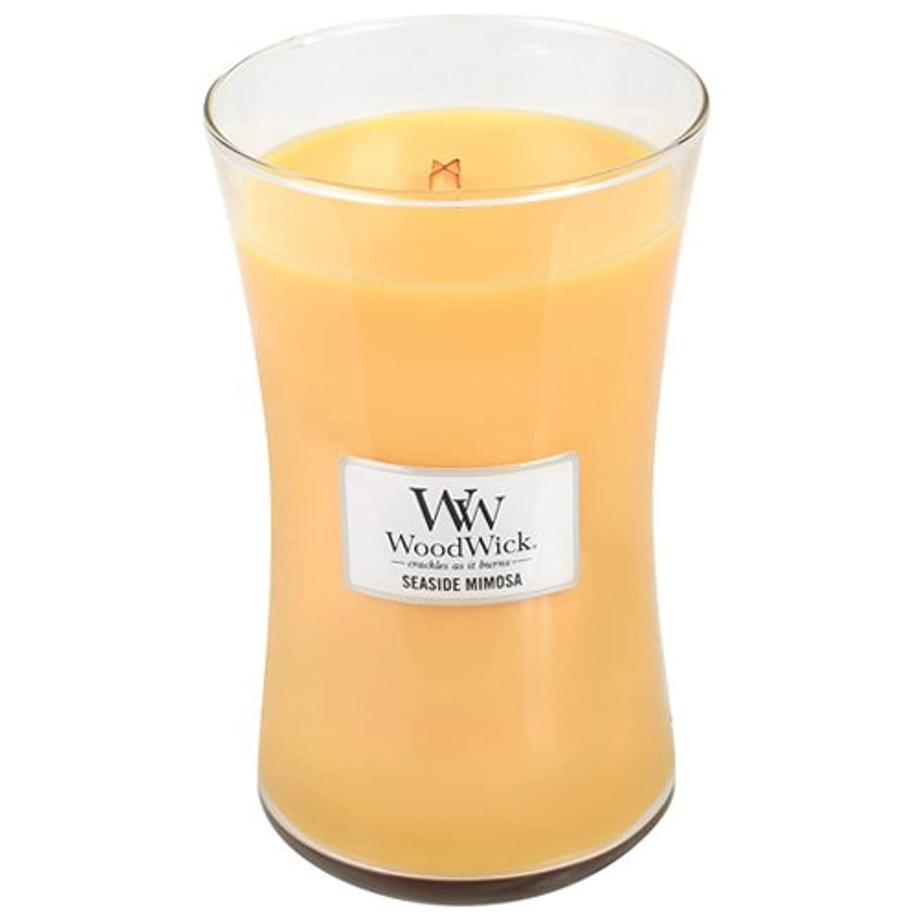 SeasideミモザWoodWick 22oz香りつきJar Candle Burns 180時間