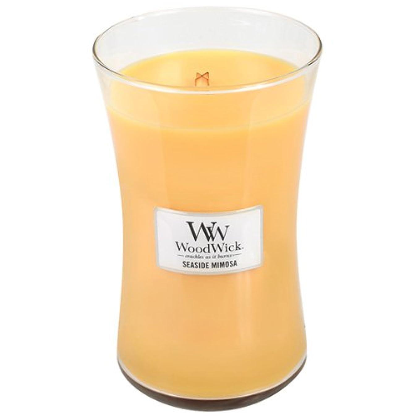 発送繰り返し半円SeasideミモザWoodWick 22oz香りつきJar Candle Burns 180時間
