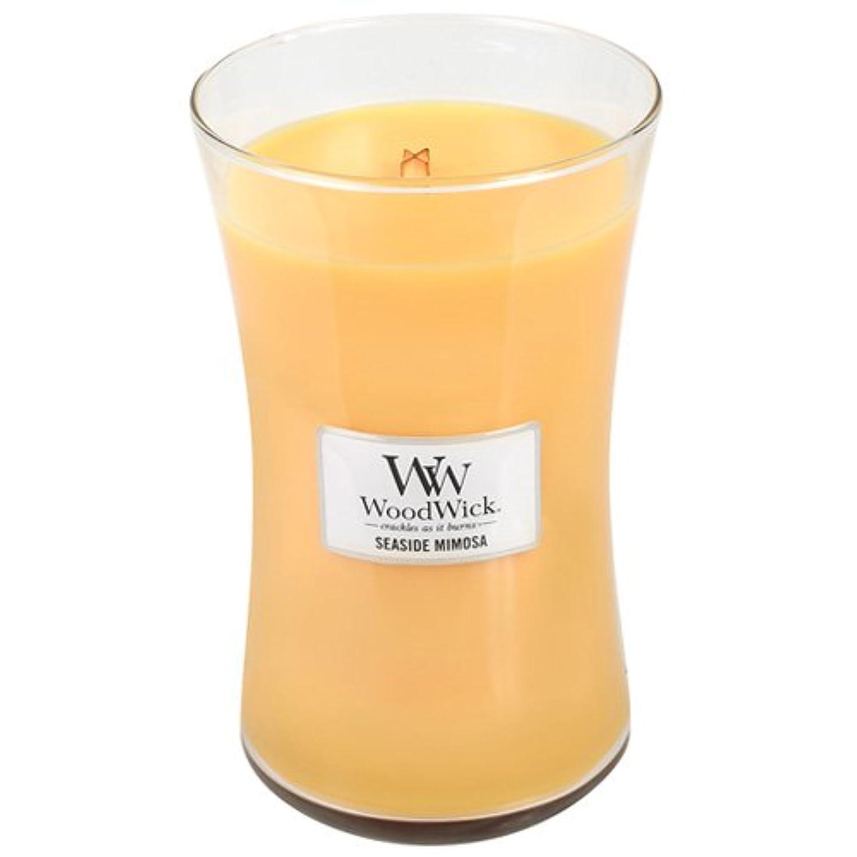 レンチ狂気側面SeasideミモザWoodWick 22oz香りつきJar Candle Burns 180時間