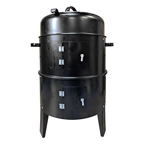 バーベキューコンロ マルチコンロ 薪ストーブ 炭受け皿付き 収納袋付き 燻製器グリラー 組立式 (ad134ブラック) [並行輸入品]