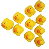 10Pcs Funny Design Baby Bathing Bath Tub Toys Mini Rubber Squeaky Float Duck Yellow Shower Water Floating Squeaky Ducks - Yellow