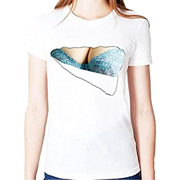 40501fc62bb65 おっぱいホワイトTシャツ 3D おもしろプリント lady半袖巨乳Tシャツ ペアルックリアガール胸とブラが見えてる ハロウィン 余興 面白 パーティ  イベント コスプレ ...