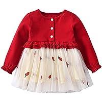 ドレス ベビー服 Yochyan 子供 女の子 子供服 キッズ プリント ワンピース キュート 可愛い 柔らかい Aライン ルーズ プリンセスドレス ロングスリーブ ドレススカート ストレートドレス パッチワーク おしゃれ ゆったり プリーツドレス