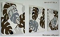 送料無料 ファブリックパネル アリス Hawaiian N-MONSTELA モンステラ 30×30×2.5cm 3枚セット グレー ハワイアン アートパネル 南国 植物 【同梱可】