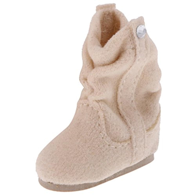 Dovewill  1/6 人形 きれい PUレザー製 靴 ブーツ シューズ  12 インチブライスドール適用  - ベージュ