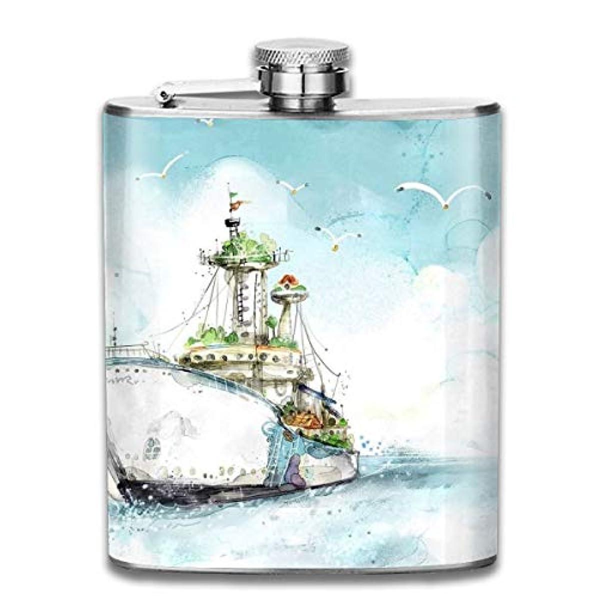 キリスト教精通した落ち込んでいるブルームン 酒器 酒瓶 お酒 フラスコ 海 ボート かもめ ボトル 携帯用 フラゴン ワインポット 7oz 200ml ステンレス製 メンズ U型