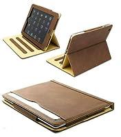 新しいs-tech for Apple iPad 234世代ブラウンソフトレザーウォレットスマートカバースリープ/スリープ解除機能フリップケース