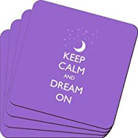 Rikki Knight Keep Calm and Dream on Violet Color Design Soft Square Beer Coasters (Set of 2), Multicolor [並行輸入品]