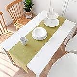 テーブルランナーコットンリネン無地テーブルランナーダイニングテーブルテーブルフラッグテレビキャビネットポーチカバークロスパッド (Color : Green, Size : 48*240cm)