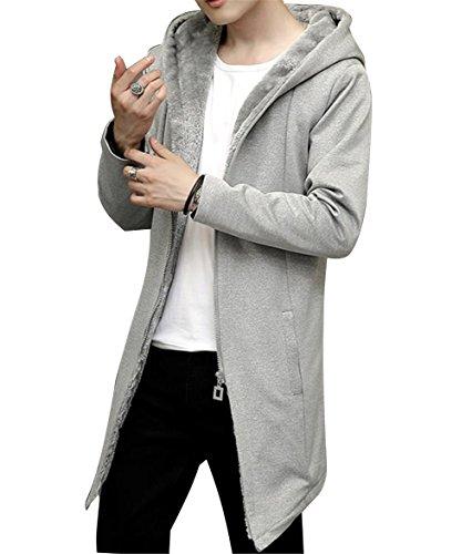 JinNiu メンズ コート 裏起毛 フード付き ロング丈 大きいサイズ 綿 軽量 チェスターコート 冬 厚手 アウトドア 防寒コート ダウンジャケット 柔らかい 着やすい 上品 高品質 修身 アウター 冬の暖かいコートブグレー5XL