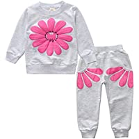 Dehutin Flower Printing Suit Set For Girls 2pcs Outfit Set Long Sleeve Sweartshirt With Trousers