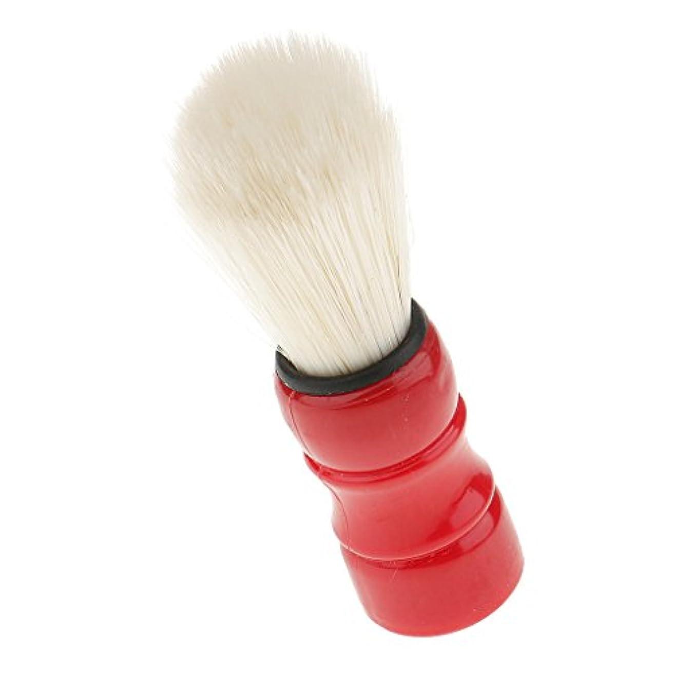 空洞賛美歌削除するchiwanji メンズ 髭 口ひげ シェービングブラシ 泡立ち 洗顔ブラシ ナイロン 髭剃りツール 全2色 - レッド