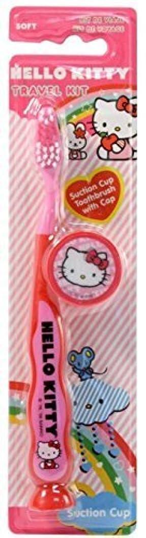 弱い神秘的な徹底的にHello Kitty Travel Kit Toothbrush 3 Pack Soft Pink by Dr. Fresh