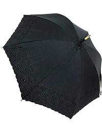 日本製 レディース 日傘 純パラソル おしゃれな 綿サテン2インチエンブ花柄 50cm 手開き傘 ブラック
