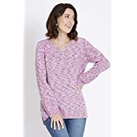 Rockmans Long Sleeve Lace Up Multi Stitch Jumper Multi Lilac M - Womens