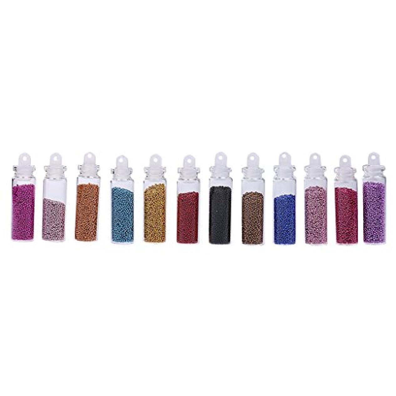ジャングル特定のカートンdailymall 12ボトルアクリルミニキャビアネイルアートデコレーションビーズ、マイクロビーズ、ネイルケア用、染色済み、穴なし、12色、約1mm、スクラップブッキング、ウェディングネイルアートデコレーション