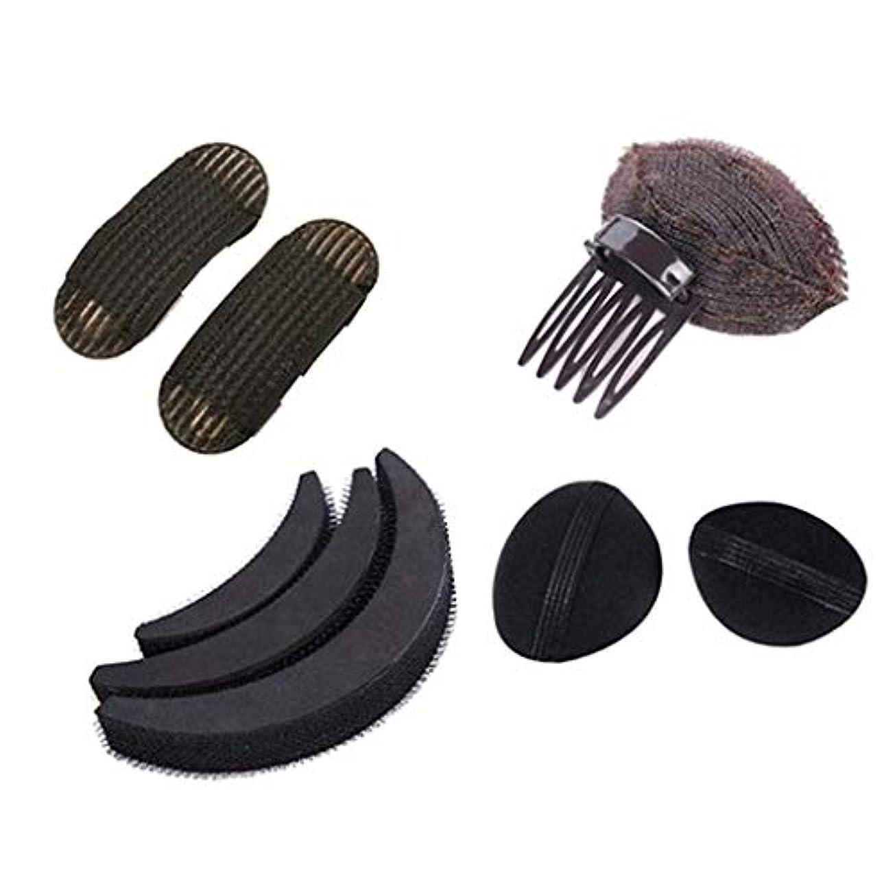 汚染するシェル原子炉女性 ヘアスタイリングキット 髪型作成 ヘアスタイルツール 美容室サロン ブラック 4種類 - B